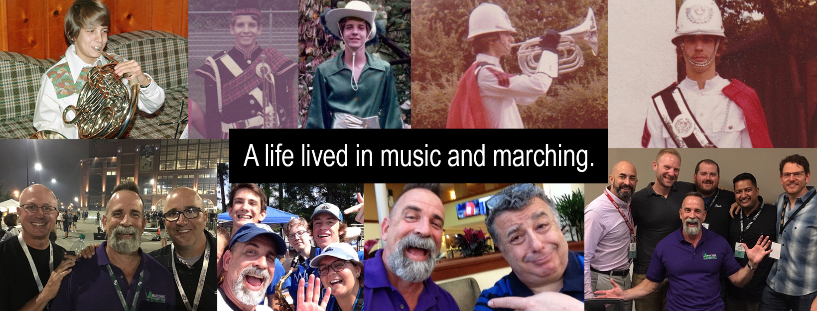 Tim Hinton's Life in Music and Marching Photo Collage