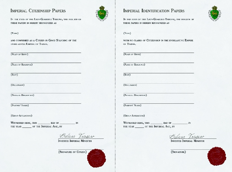 Imperial Citizenship Paper and Imperial Identification Paper for Ptolus the City by the Spire717