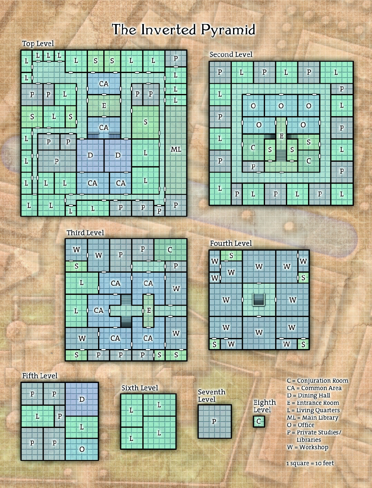 The Inverted Pyramid layout grid map in Ptolus the City By The Spire on page 326