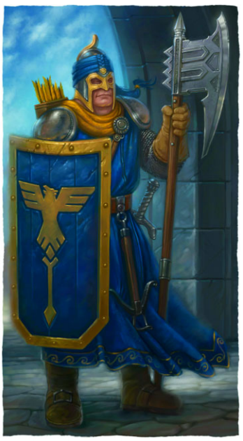 City Watch guard of Ptolus the City by the Spire wearing blue tunic oer chainmail armor and a large shield with the device of Ptolus golden hawk on a blue field