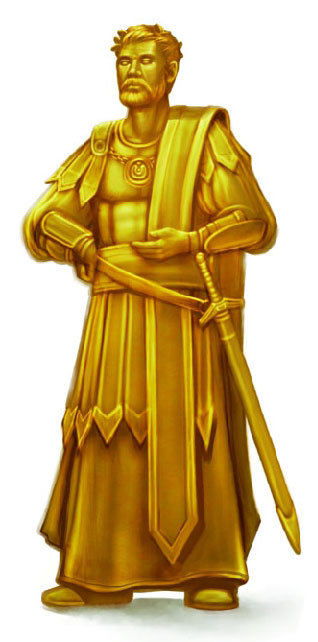 Lord Abbercombe held in stasis as a solid gold statue owned by Linech Cran