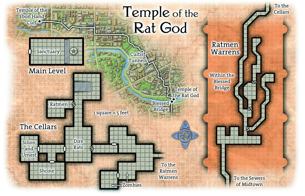 Overhead Battle Grid Map Temple of the Rat God on the in the Street of a Million Gods in Temple District of Ptolus