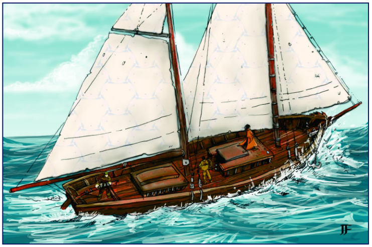 The Ship Waverider sails the Whitewind Sea with Captain Sturm Slavent found at Sailors Rest at the Docks of Ptolus