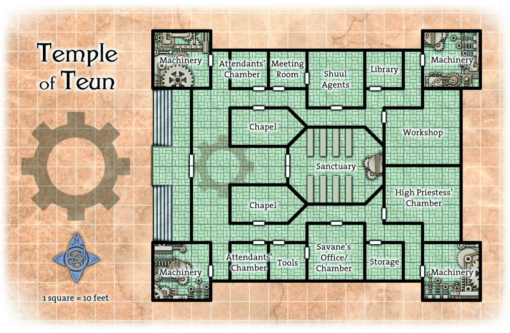 Overhead Battle Grid Map of the Temple of Teun on Chalice Road in the Temple District of Ptolus