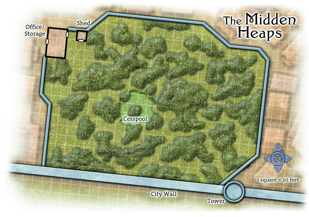 The Midden Heaps trash dump in the Guildsman District of Ptolus Overhead Grid Battle Map