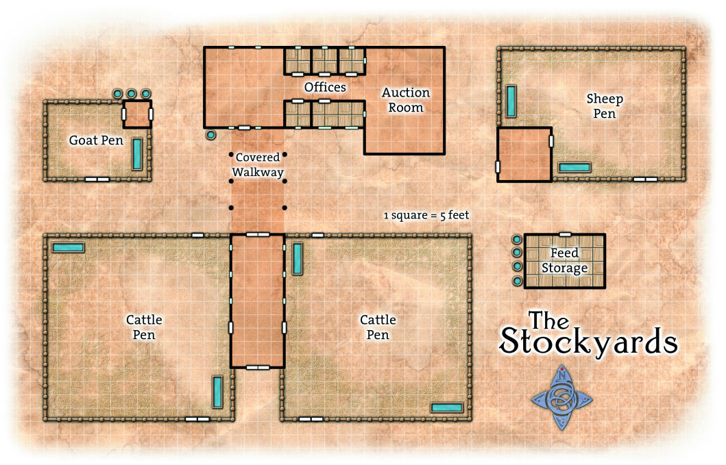 The Stockyards on South Street in the Guildsman District of Ptolus Overhead Battle Grid Map