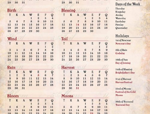 Ptolus Year Calendar and Weather