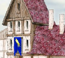 Typical Ptolus Watchhouse for the City Watch Guards Three Story Flag Golden Hawk on field of Blue Delver's Square