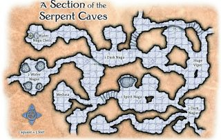 Section of the Serpent Caves in Caverns beneath Ptolus Battle Map Grid Nagas Medusa