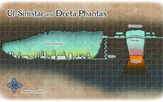Ul-Sinistar and Dreta Phantas Side View Map Drow City in the Dark Elf Caverns below Ptolus
