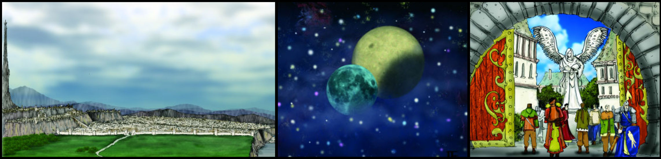 Chapter 2 The World of Pramael with Ptolus City by the Spire Side View and Vallis Moon