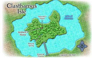 Clasthamus Isle in the Necropolis of Ptolus Home of Hennam and Andach in Lake of Sorrows with Stones of Thamus