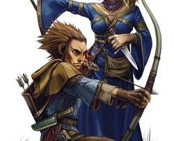 Ged Morrowlost male halfling rogue and Brooke Morrowlost female halfling wizard Portraits Owners of Ged's Cabinets in Midtown of Ptolus