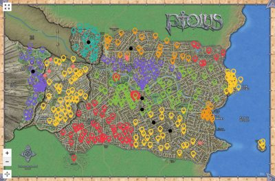 Ptolus City by the Spire Interactive Map Part 3 City Guide : Docks, Guildsman District, Midtown, Necropolis, Nobles' Quarter, Oldtown, Rivergate and the Warrens